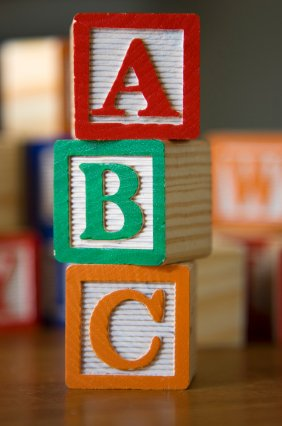 learning the alphabet with alphabet blocks