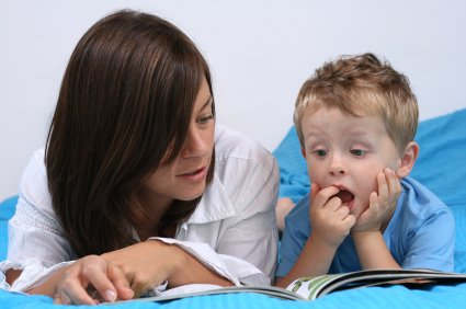 mom and son reading a story