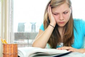 Teen trying to study